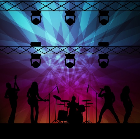 rock band: Rock band vector background with neon lights and people