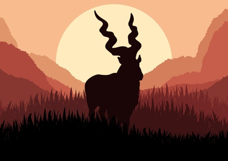 Mountain goat in wild nature landscape illustration Vector