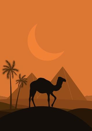 cleopatra: Camel in wild Africa pyramid landscape illustration Illustration