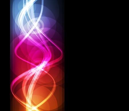 Neon abstract light lines design on dark background vector Vector