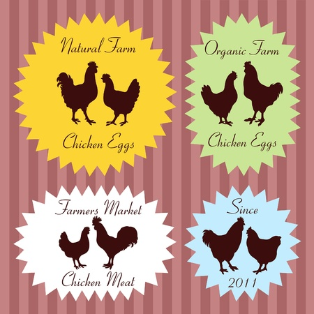 Farm chickens egg and meat labels illustration collection Vector
