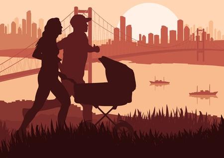 Active family marathon runners in skyscraper city landscape background illustration Vector