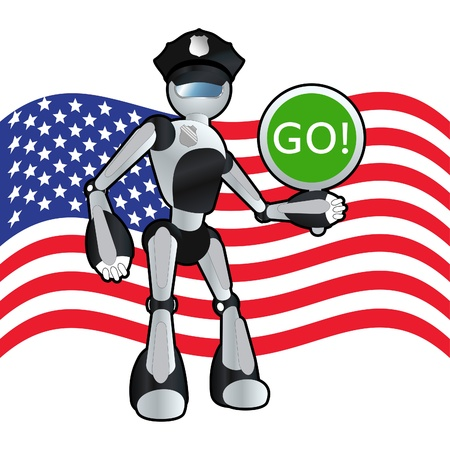 Patriotic american police officer robot background illustration Stock Vector - 11058882