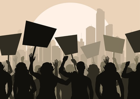 Foule des manifestants paysage illustration de fond Vecteurs