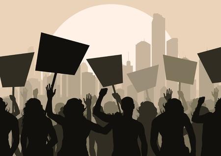 crisis economica: Los manifestantes multitud paisaje de fondo ilustraci�n Vectores