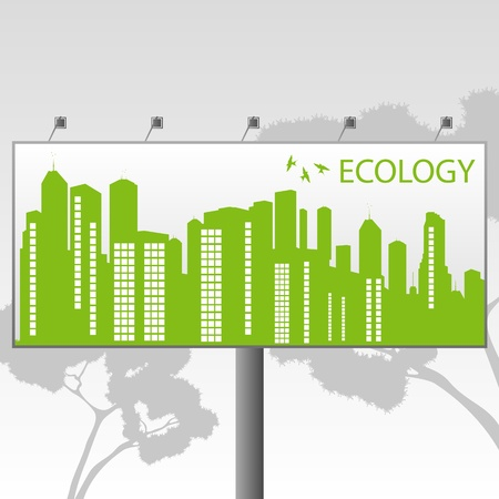 Green Eco city ecology vector background concept on billboard banner Vector