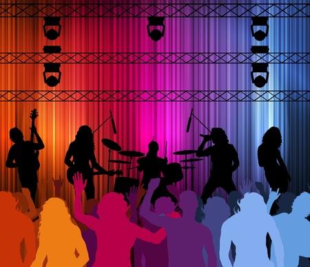 guitariste: Rocher de fond vectoriel groupe avec des n�ons et des personnes
