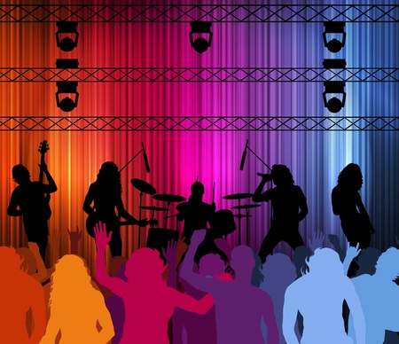 stage performer: Rock band vector background with neon lights and people