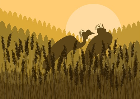 animal mating: Crane couple in wild nature landscape illustration