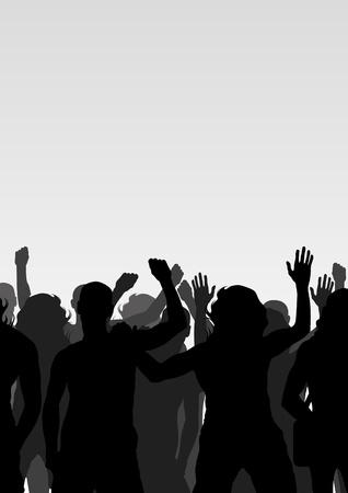 unemployment: Los manifestantes multitud paisaje de fondo ilustraci�n Vectores