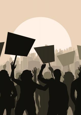 objecion: Los manifestantes multitud paisaje de fondo ilustraci�n Vectores
