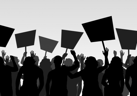 protest: Protesters crowd landscape background illustration