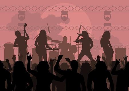 guitarristas: Roca paisaje concierto de ilustraci�n de fondo Vectores