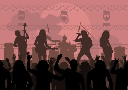 guitarists: Rock concert landscape background illustration Illustration