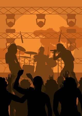 concert crowd: Rock concert landscape background illustration Illustration