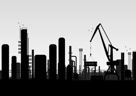 refiner�a de petr�leo: Paisaje industrial f�brica de ilustraci�n de fondo Vectores