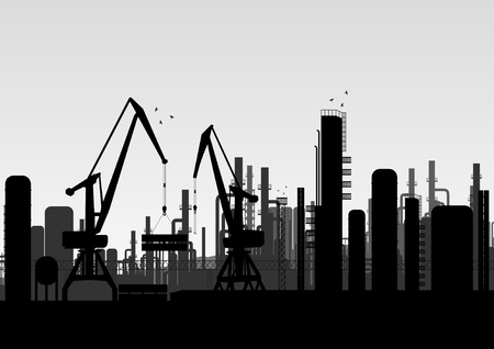 Industrial factory landscape background illustration Vector