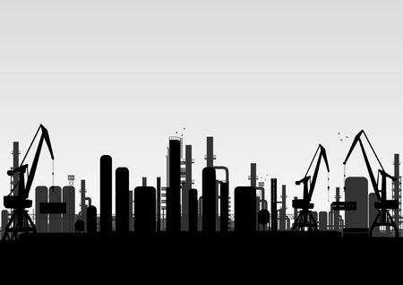 refinería de petróleo: Paisaje industrial fábrica de ilustración de fondo Vectores