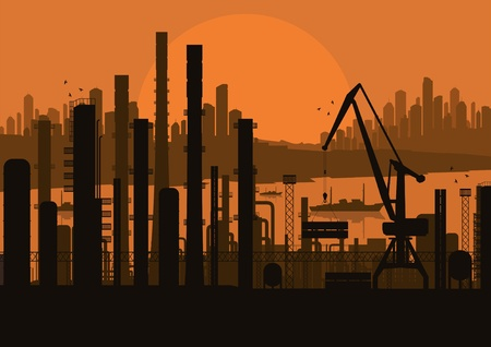 Industrial factory landscape background illustration Stock Vector - 11058942