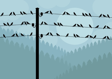 birds on a wire: Birds in autumn countryside landscape background illustration Illustration