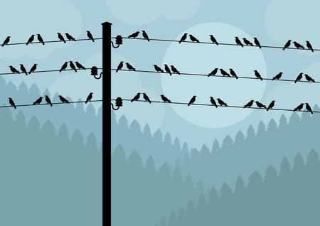 zwerm vogels: Vogels in de herfst landschap van het platteland achtergrond illustratie