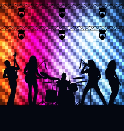 guitarists: Rock band vector background with neon lights