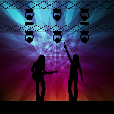 singing silhouette: Rock band vector background with neon lights