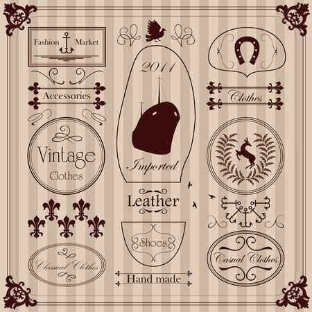 Vintage clothing labels and elements illustration collection Stock Vector - 11058943