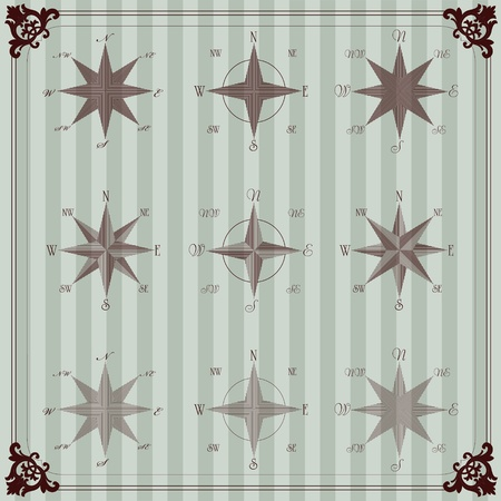 Vintage sailor compass illustration collection Vector