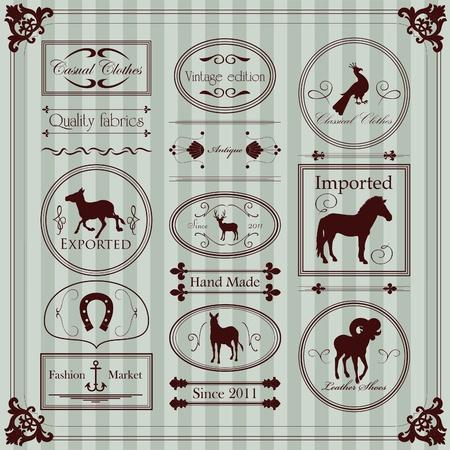 etiquetas de ropa: Etiquetas de ropa antigua y elementos de la colección ilustración Vectores