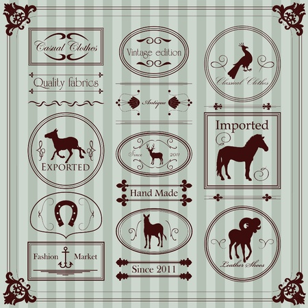 vintage clothing: Vintage clothing labels and elements illustration collection