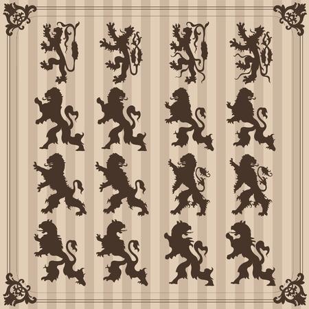 lion dog: Vintage royal birds coat of arms illustration