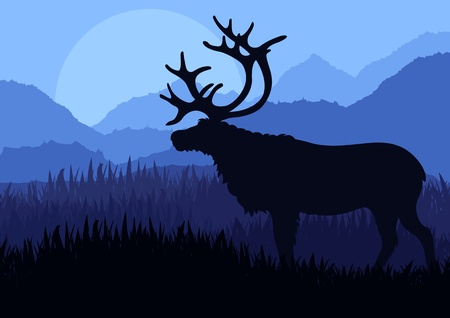 Reindeer in wild north nature landscape illustration Vector