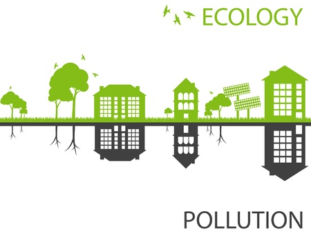 Green ecology city against pollution vector background concept Vector