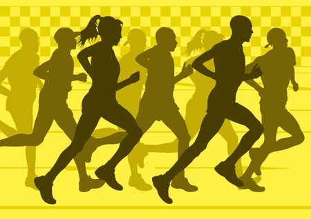 Marathon runners in urban city landscape background illustration Vector