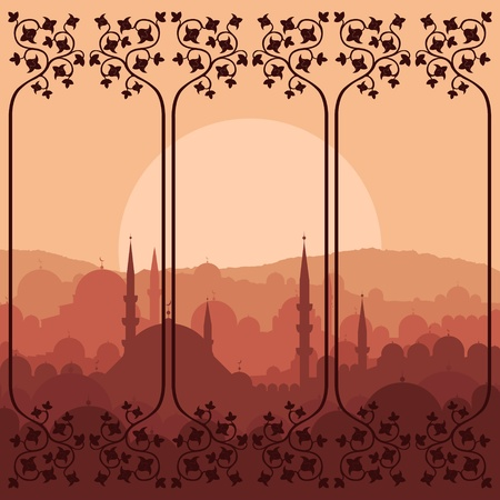mid morning: Vintage Arabic city landscape background illustration