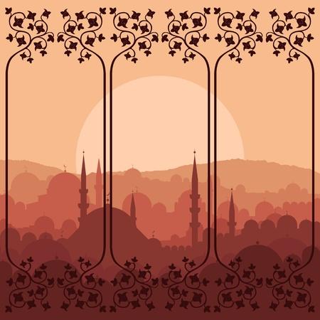 turkey istanbul: Vintage Arabo citt? paesaggio sfondo illustrazione