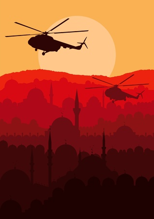 military silhouettes: Army helicopters flying over Arabic city landscape background illustration Illustration