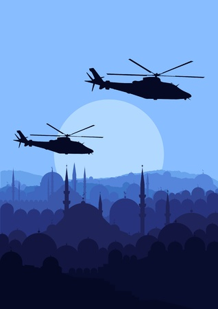 Army helicopters in mountain landscape background illustration Vector