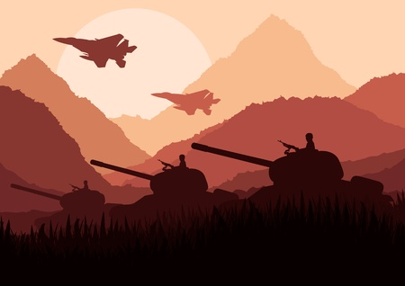a tank: Army tanks and airplanes in mountain landscape background illustration