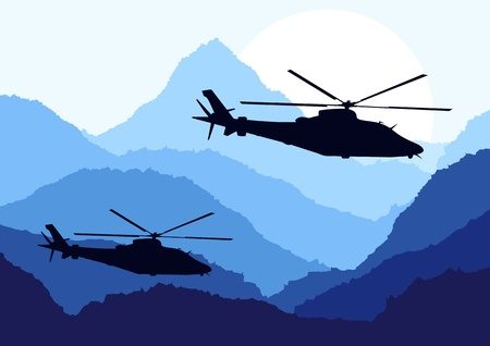 cold war: Army helicopters in mountain landscape background illustration