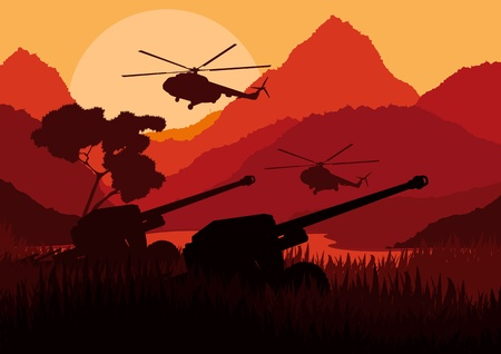 Army artillery guns and helicopters in mountain landscape background illustration Vector