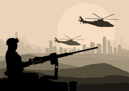 machine gun: Army soldier in desert skyscraper city landscape background illustration Illustration