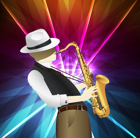 Saxophone player background illustration vector with neon background Vector