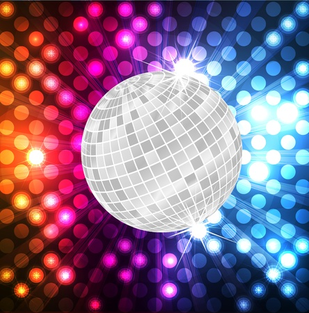 funky music: Disco ball vector neon background