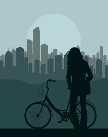 Woman with bicycle in front of city background vector Vector