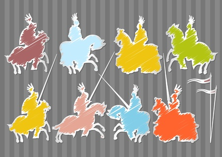 Colorful medieval knight horseman illustration collection background Vector