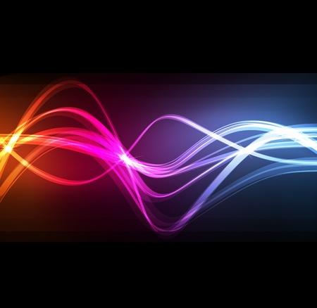 fond fluo: Neon conception abstraite de lignes sur le vecteur fond sombre Illustration