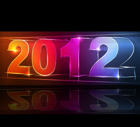 glimpse: 2012 New Year card neon lights shining on the dark vector background Illustration