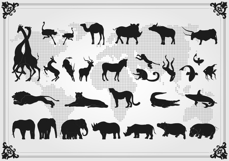 Africa animals illustration collection background Vector